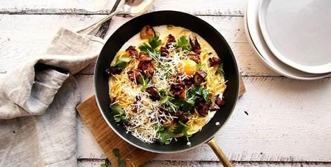 Pasta Carbonara med skogschampinjon och tryffel